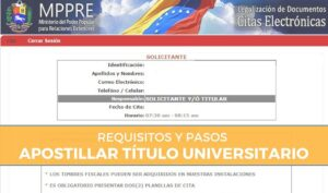 requisitos para legalizar el titulo universitario en Venezuela