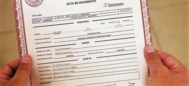 documento acta de nacimiento
