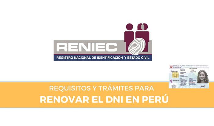 requisitos para renovar dni peruano